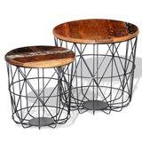 Salontafelset rond 35/45 cm gerecycled hout 2-delig_