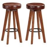 Barstoelen 2 st 45x45x76 cm massief acaciahout echt leer_