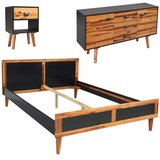 Slaapkamer meubelset 140x200 cm massief acaciahout 4-delig_