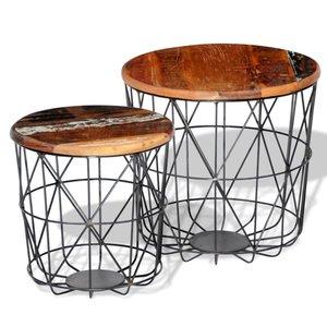 Salontafelset rond 35/45 cm gerecycled hout 2-delig