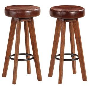 Barstoelen 2 st 45x45x76 cm massief acaciahout echt leer