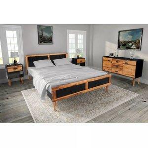 Slaapkamer meubelset 140x200 cm massief acaciahout 4-delig